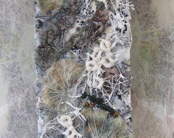 TEXTILE ART, EMBROIDERY - 'Dandelion heads' , embroidered art, fibre art.