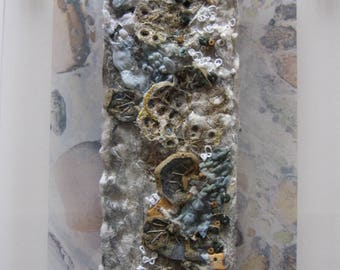 TEXTILE ART, EMBROIDERY - 'Rockpool' , embroidered art, fibre art.