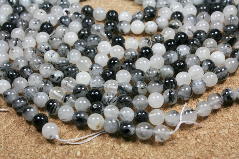 13 inch strand 8mm Rutilated Quartz Round Beads White and Black Inclusions Smooth Beads