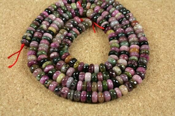 Chapelet perles Rondelle de tourmaline - multicolore perles rondes lisses, 6-7mm, 16 pouces