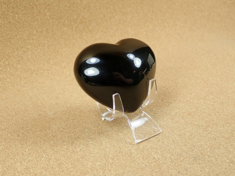 Smooth Heart Shaped Natural Gemstone Specimen and Display Piece for Collectors 35mm Rainbow Obsidian Mineral Specimen