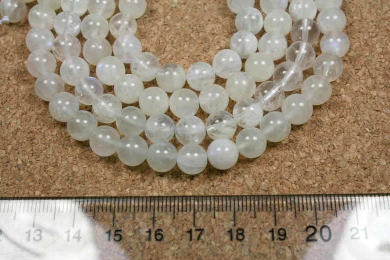 Moonstone Round Beads 15.5 inch strand A Grade White Smooth Beads 8mm