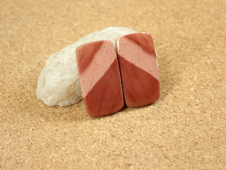 Mookaite Rectangle Cabochons Pink and Maroon Undrilled Matched Cab Pair Gemstone Matched Pair Jewelry Making Supplies