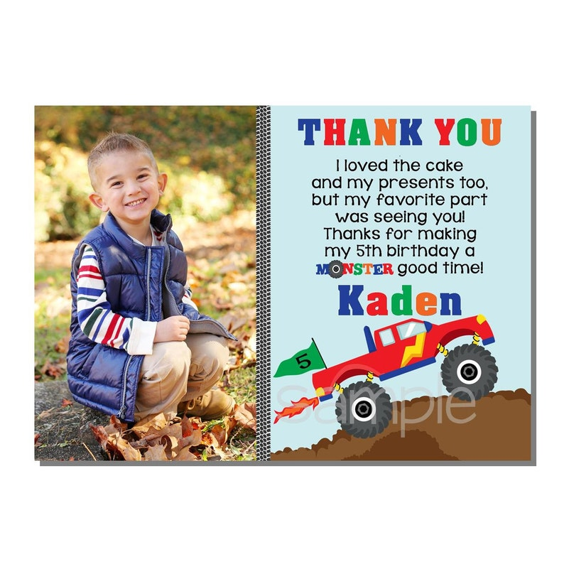 Monster Truck Thank You Card Birthday Party  DIGITAL or PRINT image 0