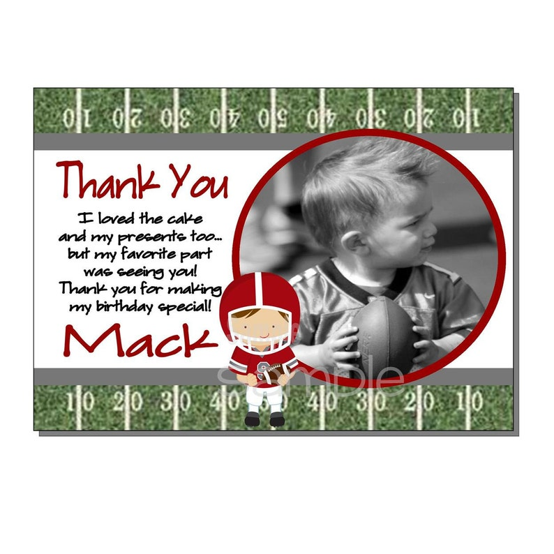 Football Thank You Card Birthday Party Red and Gray  DIGITAL image 0