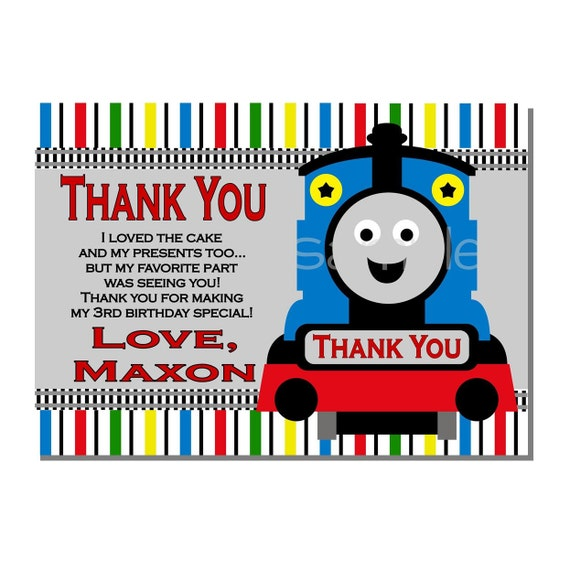 Train Thank You Card Birthday Party Digital Or Printed Etsy