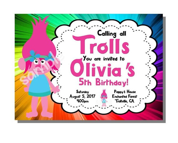 image regarding Trolls Printable Invitations known as Trolls Invitation Birthday Bash - Electronic Printable Report via