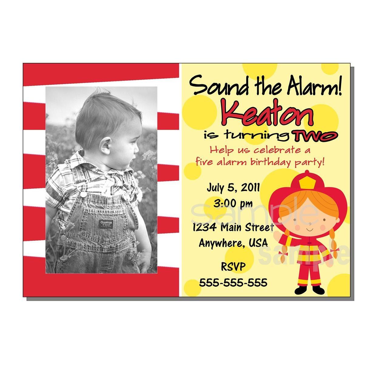 Fireman Invitation Birthday Party DIGITAL Or PRINTED
