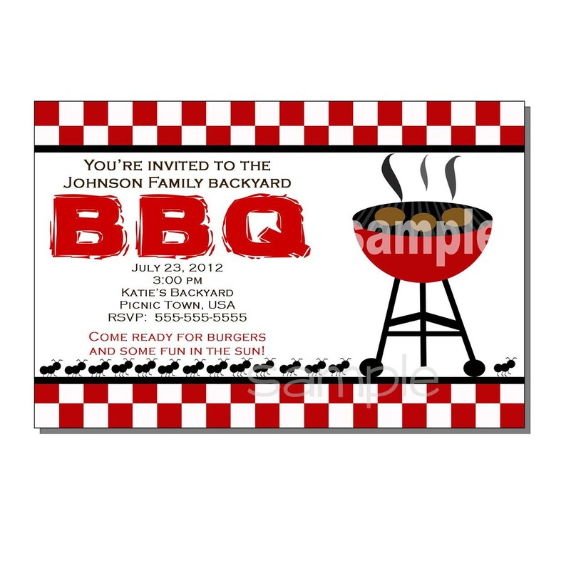 BBQ Party Invitation for Birthday or Picnic  DIGITAL or image 0