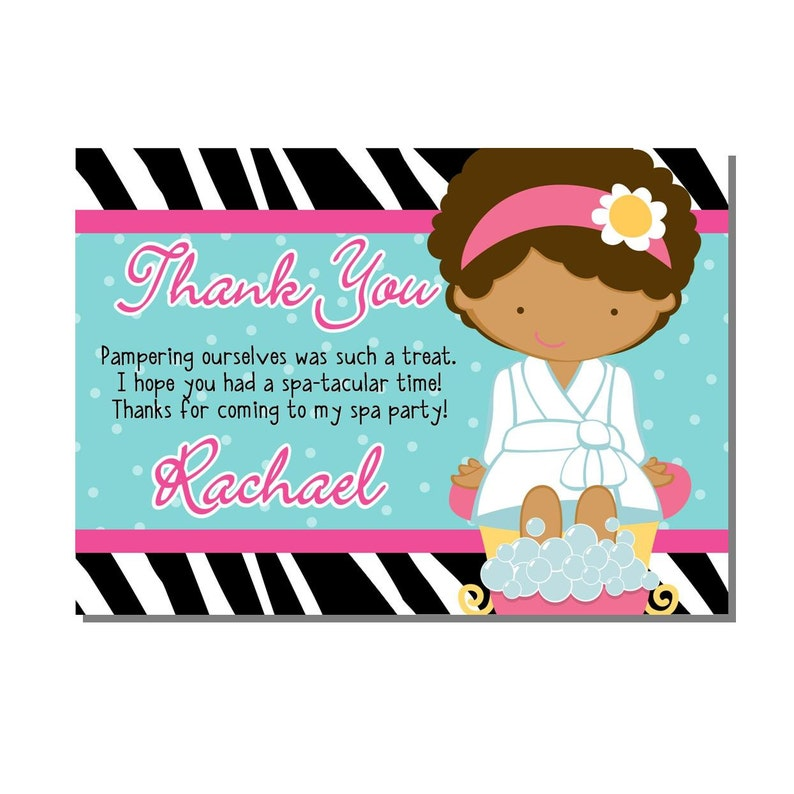 Spa Party Thank You Card Birthday  DIGITAL or PRINTED image 0