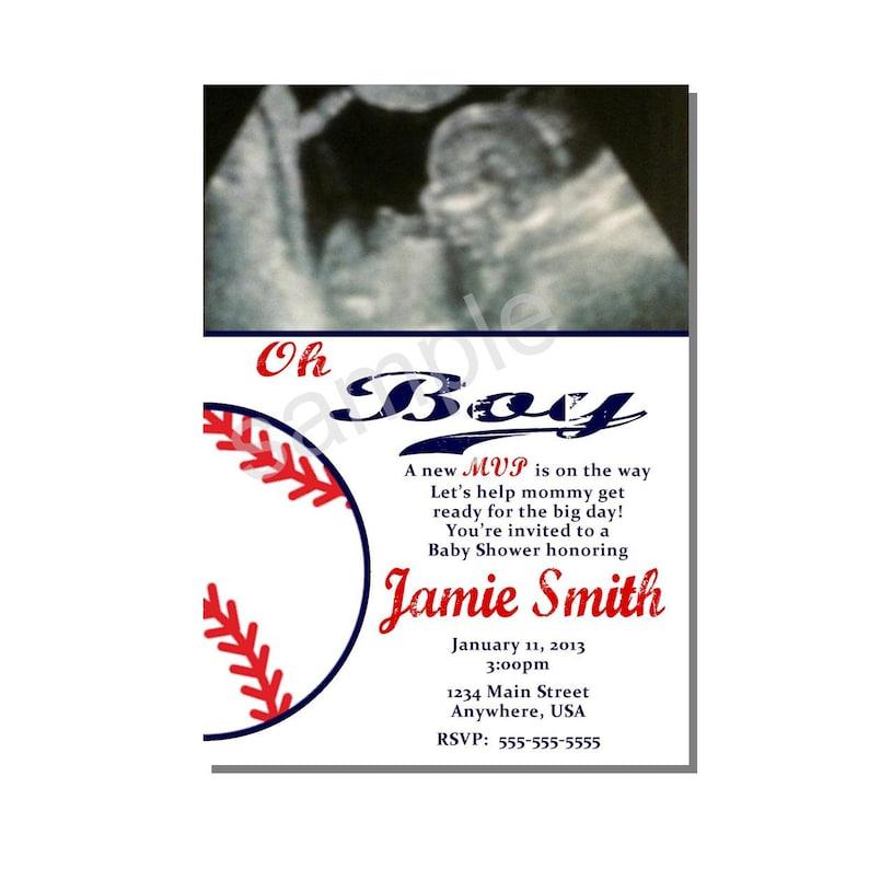 Baseball Baby Shower Invitation  DIGITAL or PRINTED image 0