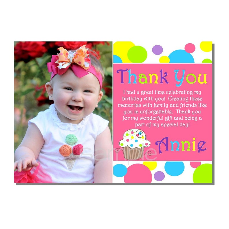 Cupcake Thank You Birthday Party  DIGITAL or PRINTED image 0