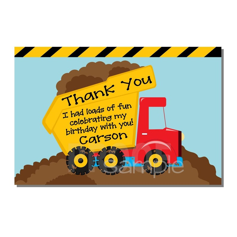 Construction Thank You Card Dump Truck Birthday Party  image 0