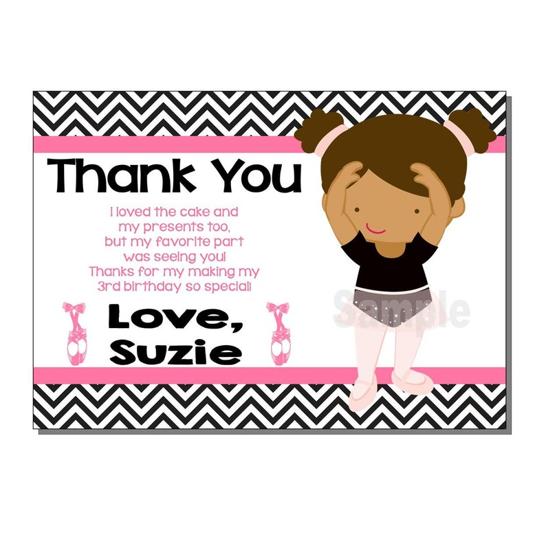 Ballerina Thank You Card Birthday Party  DIGITAL or PRINTED image 0