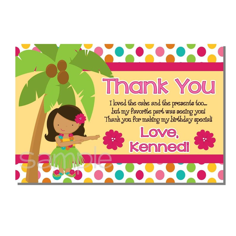 Luau Thank You Card Birthday Party  DIGITAL or PRINTED image 0