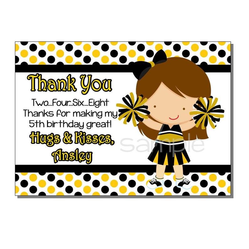 Cheerleader Thank You Card Birthday Black and Yellow  DIGITAL image 0