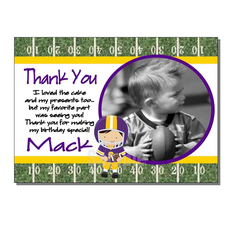 Football Thank You Card Birthday Party Yellow and Purple  image 0