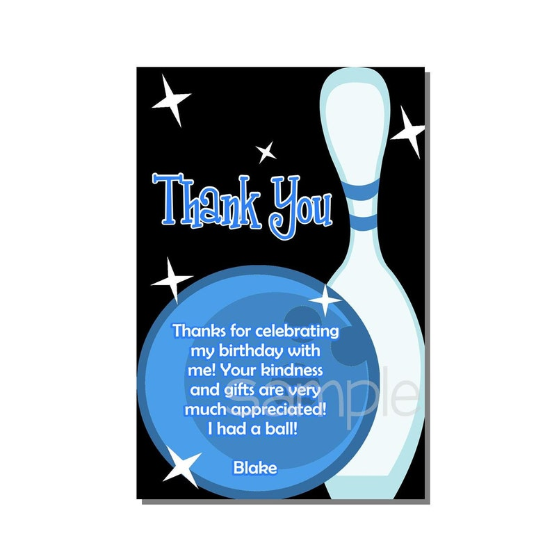 Bowling Thank You Card Birthday Party Bue  DIGITAL or PRINTED image 0
