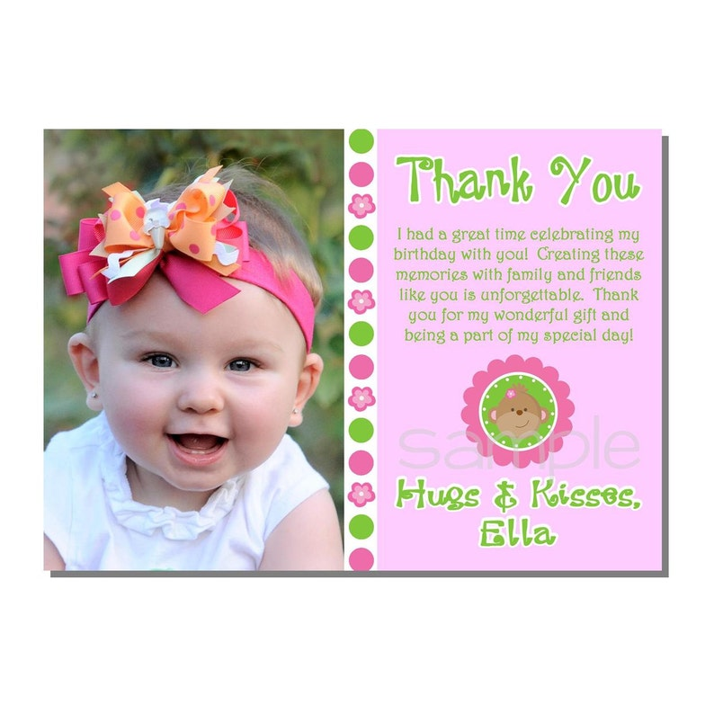 Mod Monkey Thank You Card Birthday Party  DIGITAL or PRINTED image 0