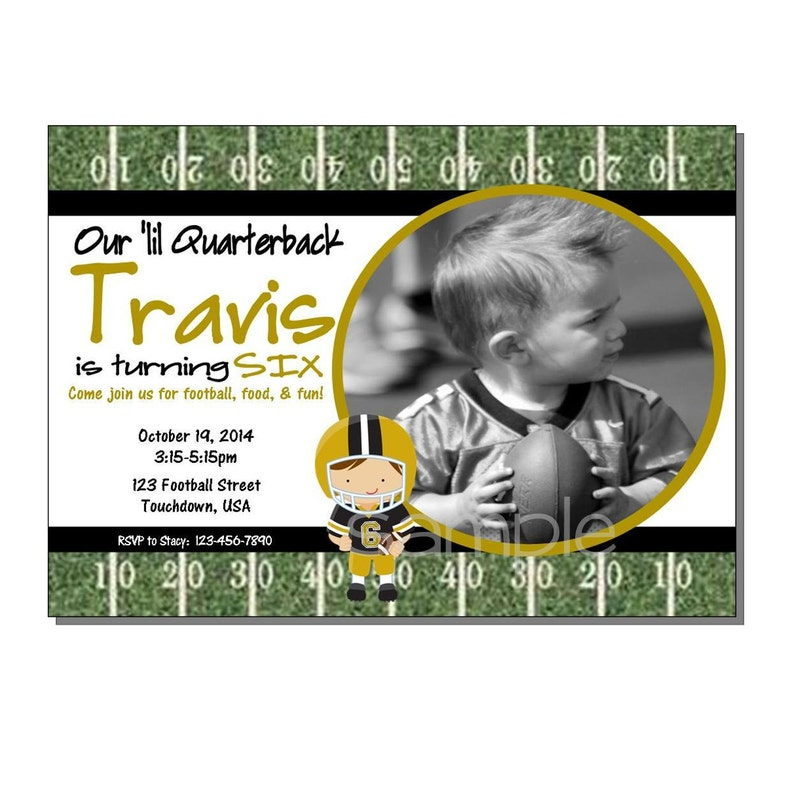 Football Invitation Birthday Party Black and Gold  DIGITAL or image 0