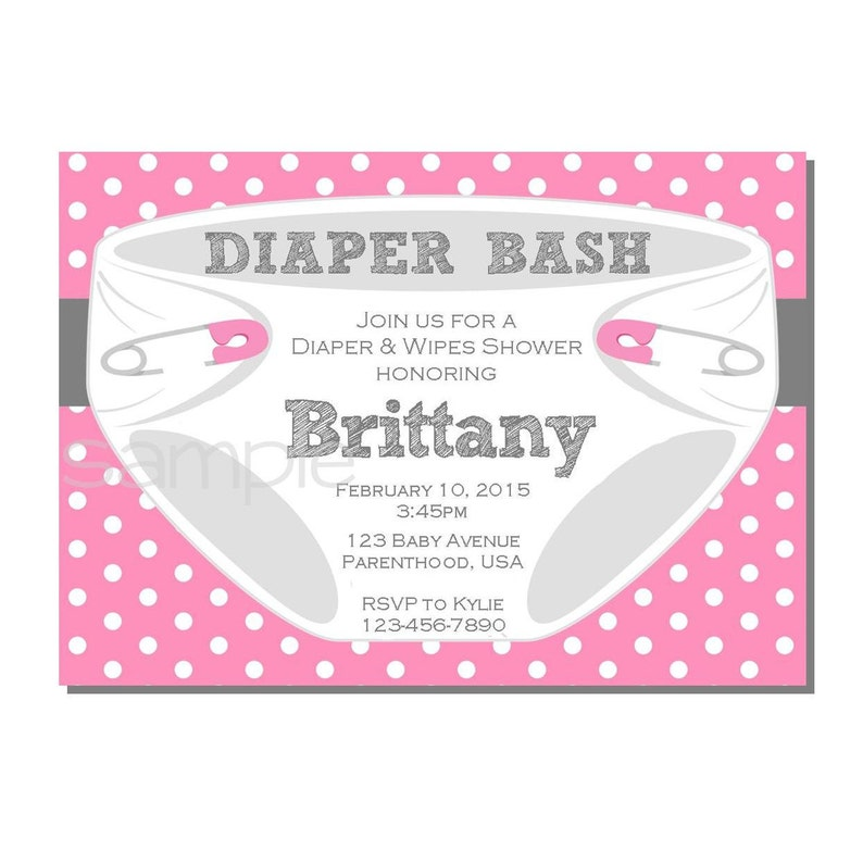 Diaper Invitation for Diaper Bash Baby Shower Pink and Gray  image 0