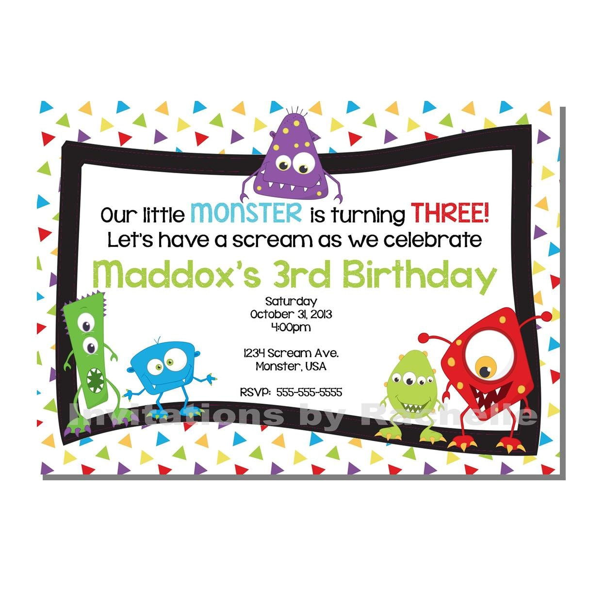 Monster Bash Invitation Birthday Party DIGITAL or PRINTED | Etsy