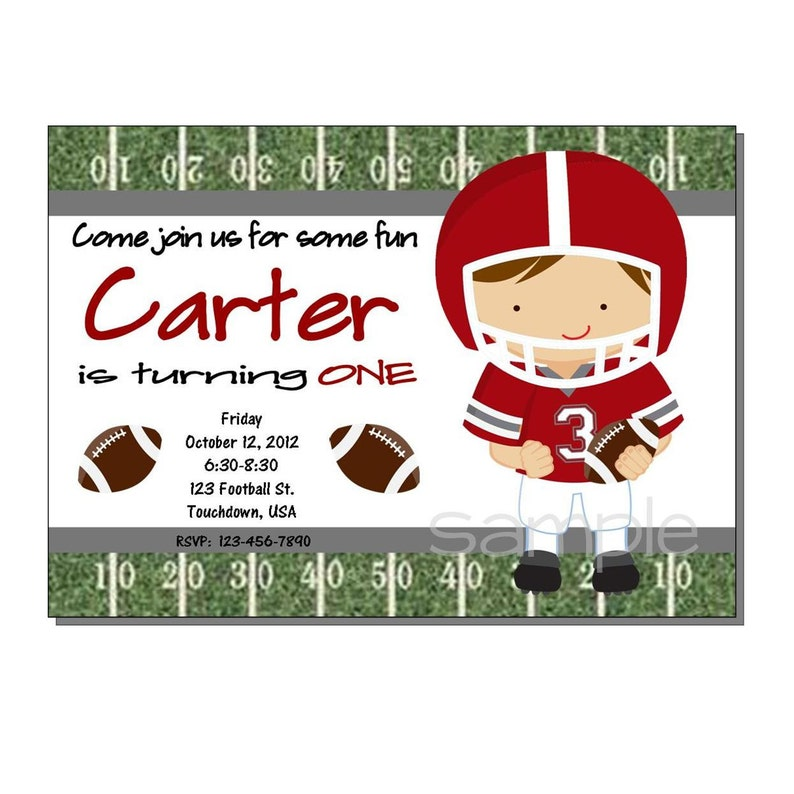 Football Invitation Red and Gray Birthday Party  DIGITAL or image 0