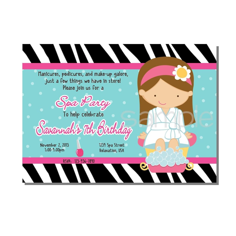 Spa Party Invitation Birthday  DIGITAL or PRINT YOURSELF image 0