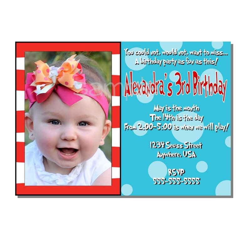 Stripes and Polka Dots Invitation Birthday Party  DIGITAL or image 0