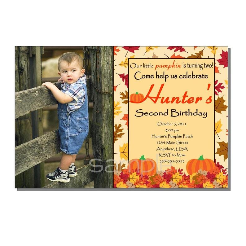 Pumpkin Invitation Birthday Party  DIGITAL or PRINTED image 0