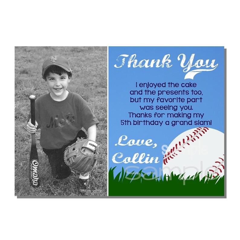 Baseball Thank You Card Birthday Party DIGITAL or PRINTED image 0