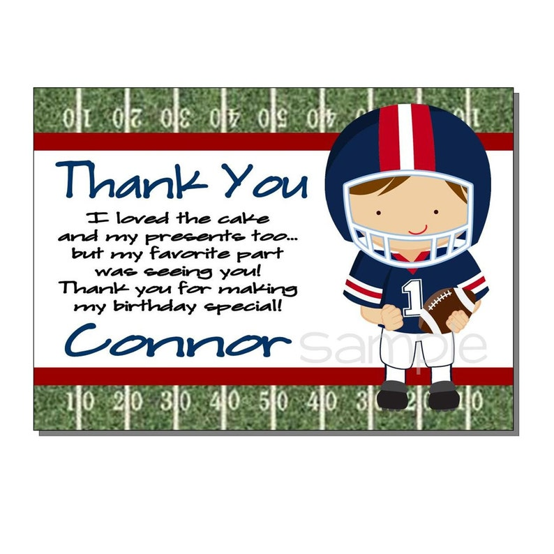 Football Thank You Card Birthday Party Red and Blue  DIGITAL image 0