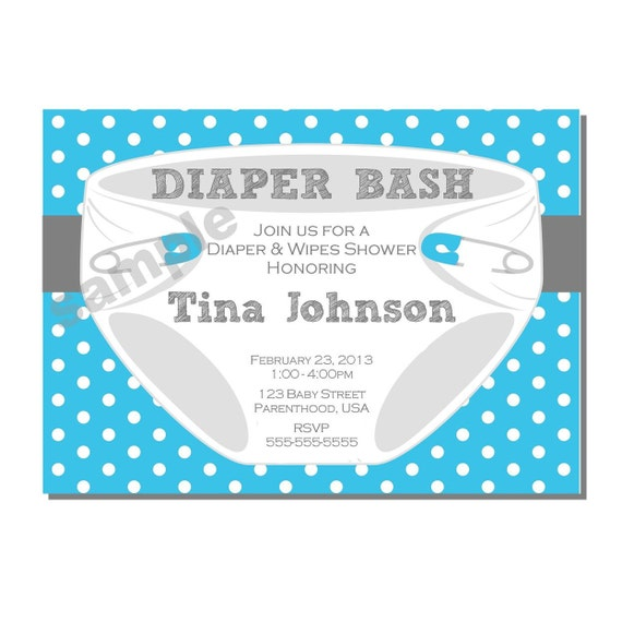 Diaper Invitation For Bash Baby Shower In Blue And Gray