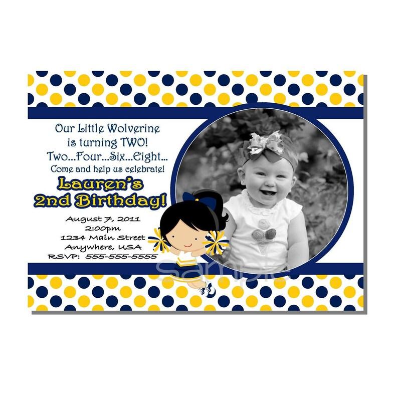 Cheerleader Invitation Birthday Party Yellow and Blue  image 0