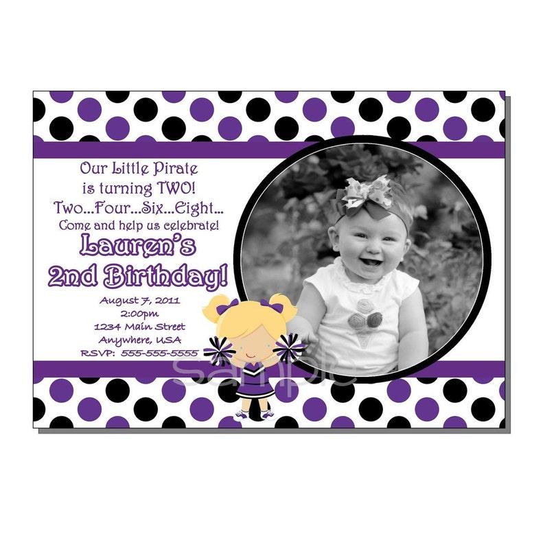Cheerleader Invitation Birthday Party Purple and Black  image 0