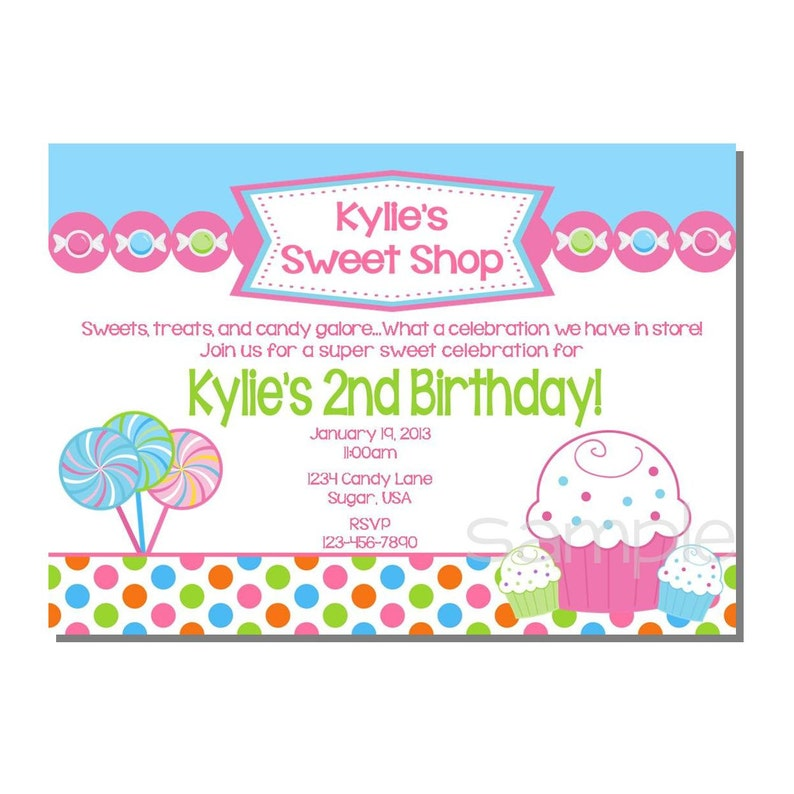 Candy Invitation Sweet Shop Birthday Party  DIGITAL or image 0