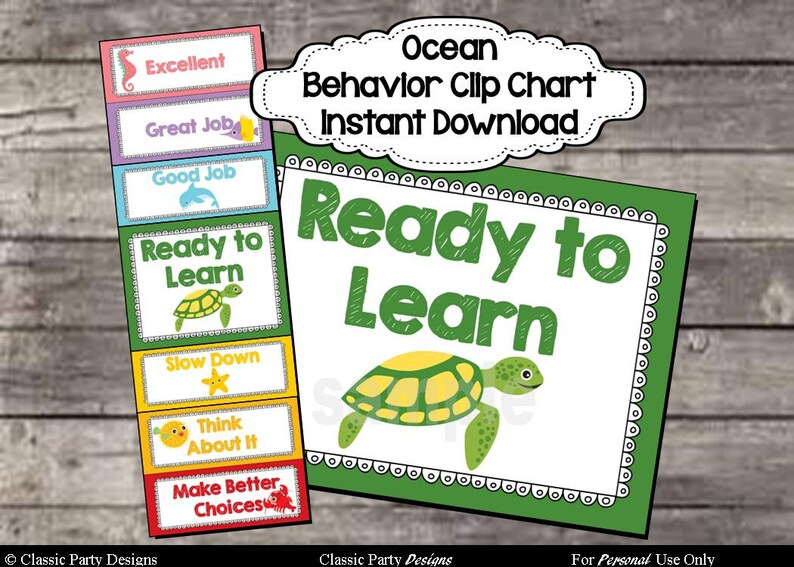 Behavior Clip Chart Ocean Theme  Digital Printable File  image 0