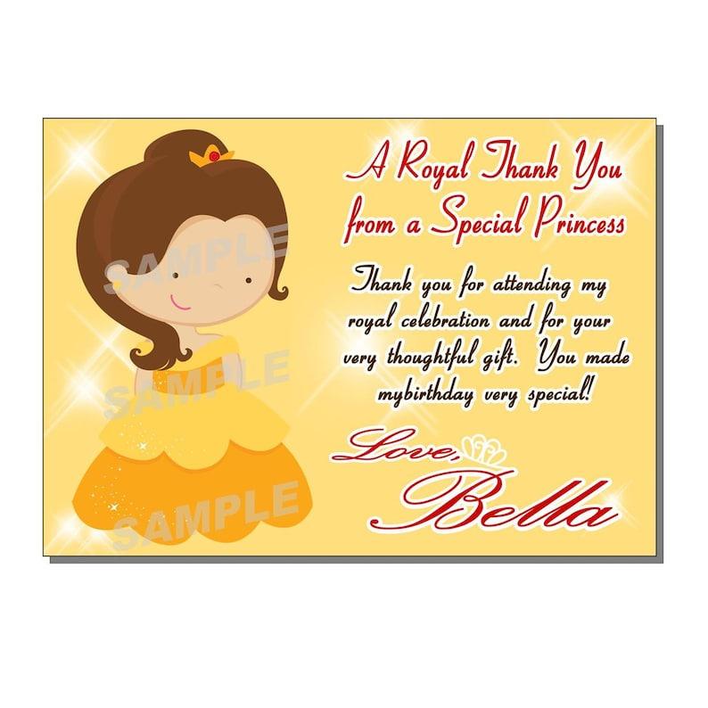 Princess Thank You Card Birthday Party  DIGITAL or PRINTED image 0