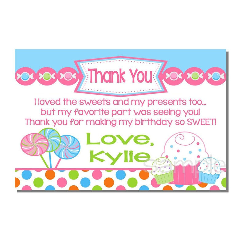 Candy Thank You Card Sweet Shop Birthday Party  DIGITAL or image 0