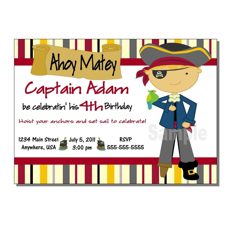 Pirate Invitation Birthday Party  DIGITAL or PRINTED image 0