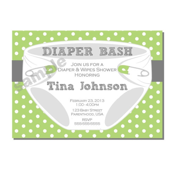Diaper Invitation For Bash Baby Shower In Green And Gray