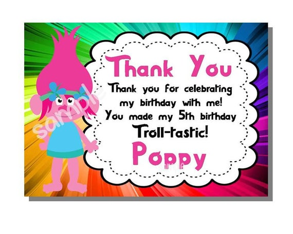 Trolls Thank You Birthday Party