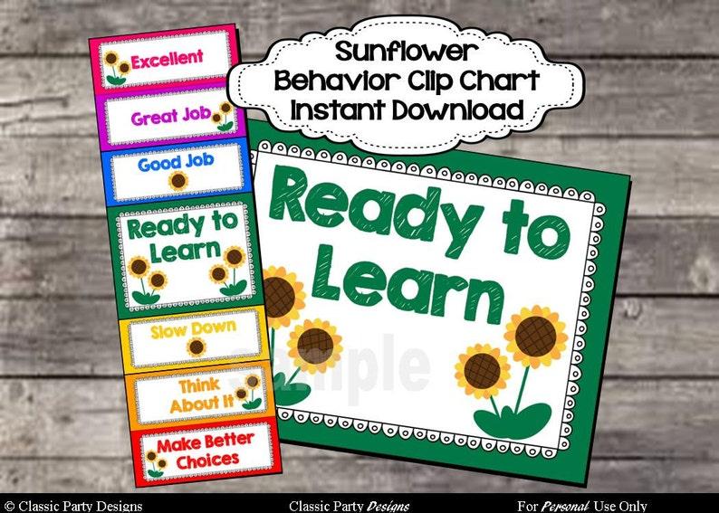 Behavior Clip Chart Sunflower Theme Digital Printable File  image 0