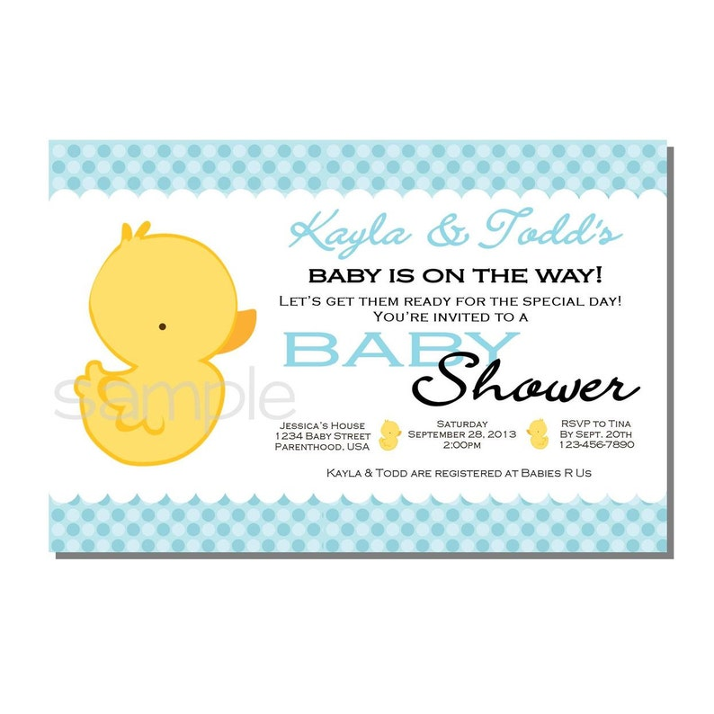 Rubber Ducky Baby Shower Invitation Blue  DIGITAL or PRINTED image 0