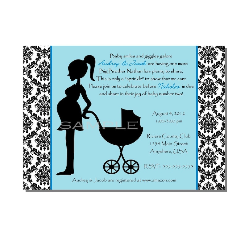 Damask Baby Shower Sprinkle Invitation Blue  DIGITAL or image 0