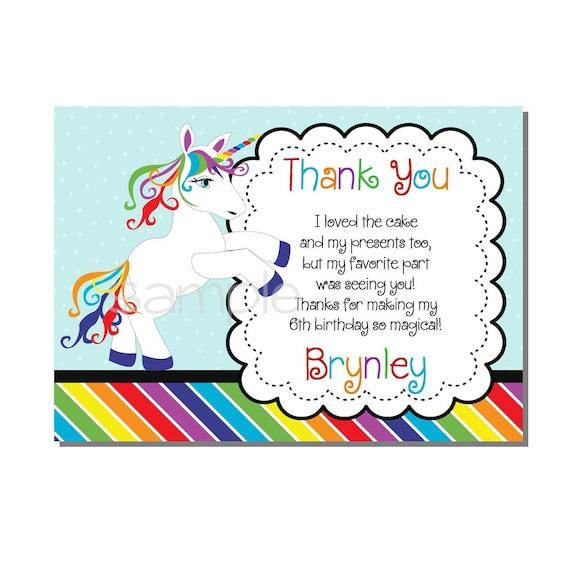 Rainbow Unicorn Thank You Card Birthday Party Digital Or Etsy