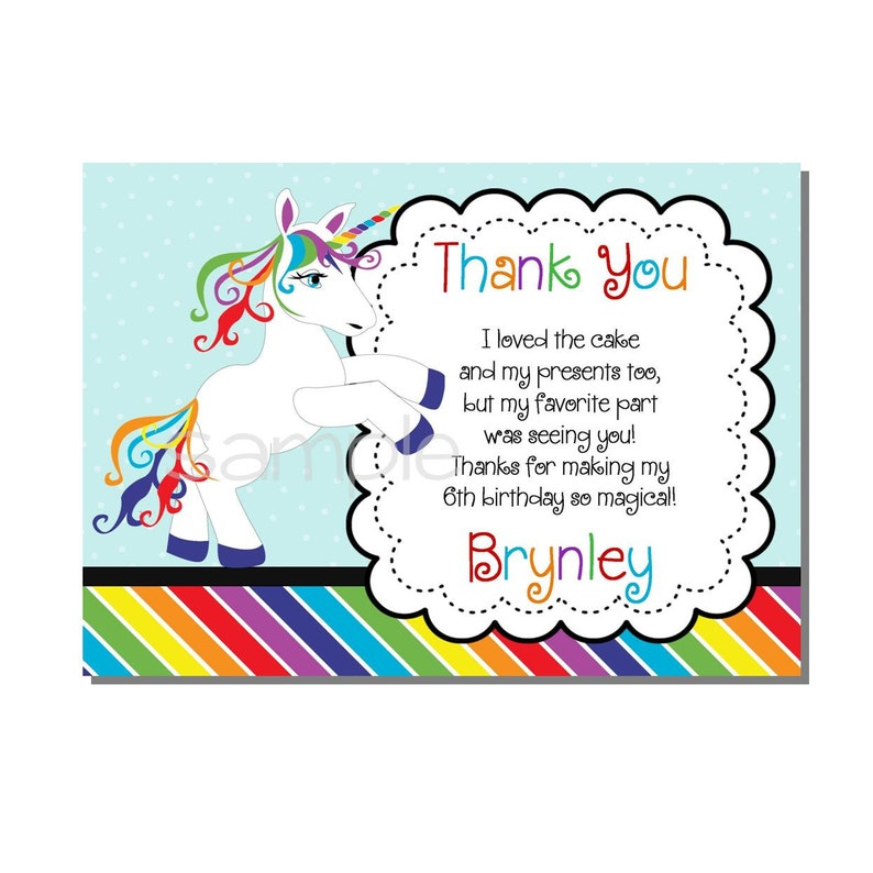 Rainbow Unicorn Thank You Card Birthday Party  DIGITAL or image 0