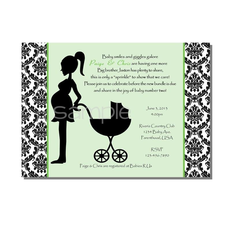 Damask Baby Shower Sprinkle Invitation Green  DIGITAL or image 0