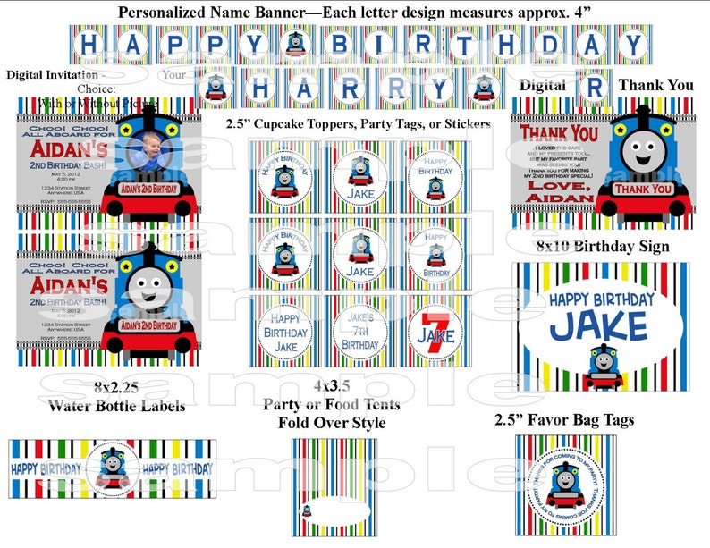 Train Birthday Party Package  Digital Printable File image 0