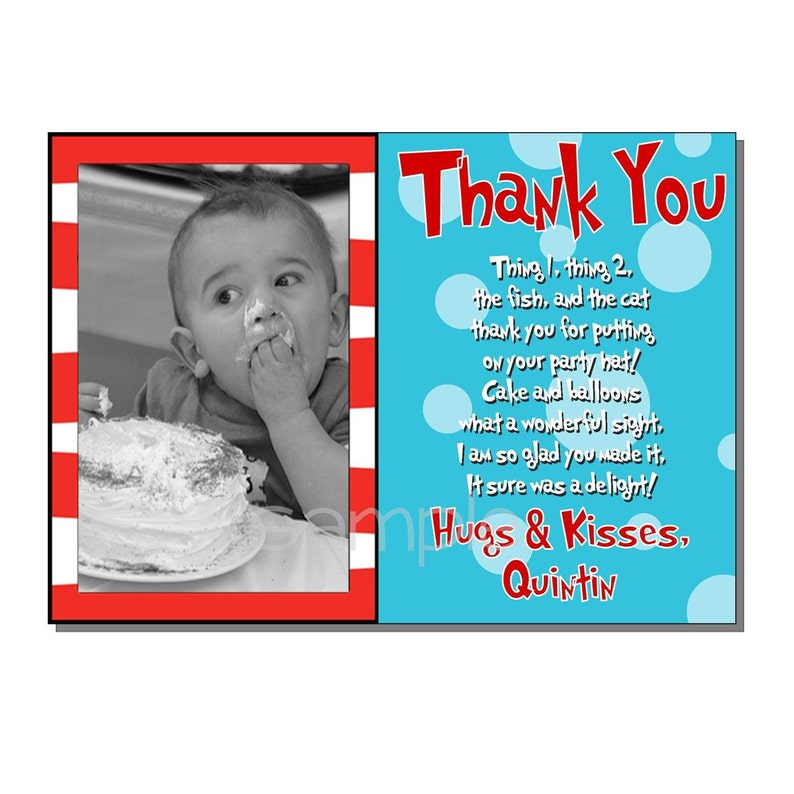 Stripes and Polka Dots Thank You Card Birthday Party  DIGITAL image 0